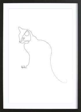 One Line Cat Poster in Wooden Frame