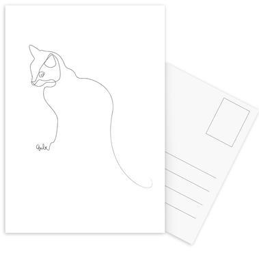One Line Cat cartes postales