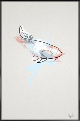 One Line Koi Fish Framed Poster
