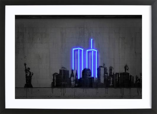 New York Affiche sous cadre en bois