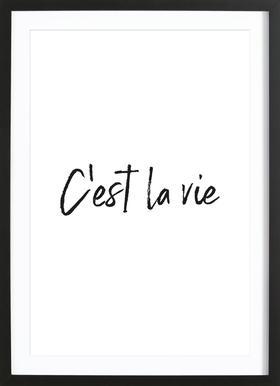 C'est La Vie affiche sous cadre en bois