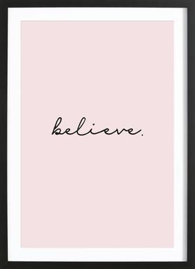 Believe affiche sous cadre en bois