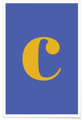 Blue Letter C affiche