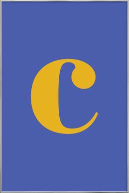 Blue Letter C affiche sous cadre en aluminium