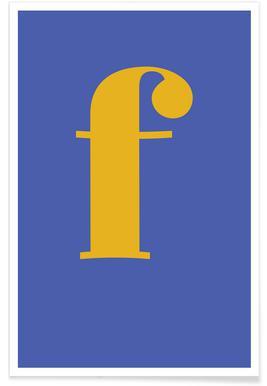 Blue Letter F affiche