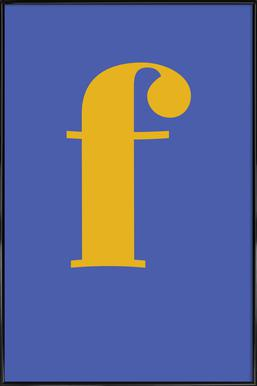 Blue Letter F affiche encadrée