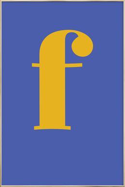 Blue Letter F affiche sous cadre en aluminium