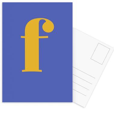 Blue Letter F cartes postales