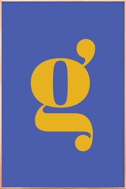 Blue Letter G affiche sous cadre en aluminium