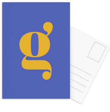 Blue Letter G cartes postales