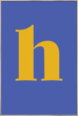 Blue Letter H affiche sous cadre en aluminium