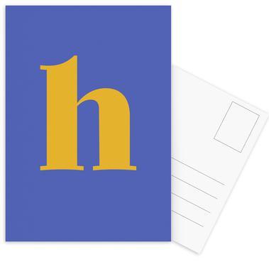 Blue Letter H cartes postales