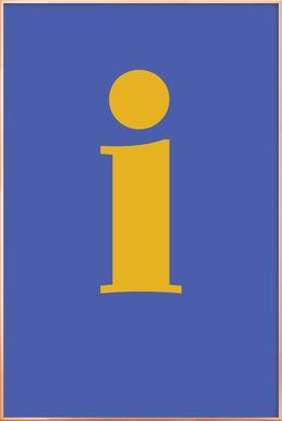 Blue Letter I affiche sous cadre en aluminium