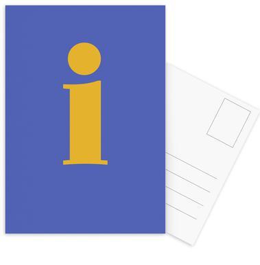 Blue Letter I cartes postales