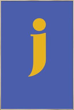 Blue Letter J affiche sous cadre en aluminium