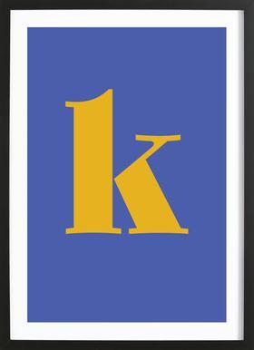 Blue Letter K affiche sous cadre en bois