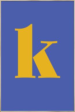 Blue Letter K affiche sous cadre en aluminium