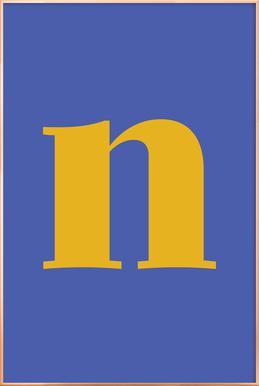 Blue Letter N affiche sous cadre en aluminium