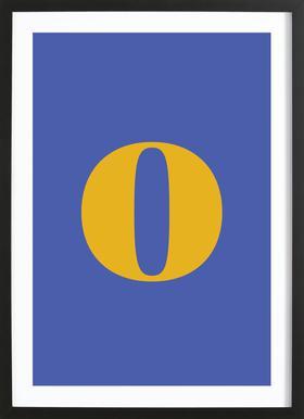 Blue Letter O affiche sous cadre en bois