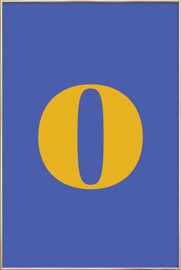 Blue Letter O affiche sous cadre en aluminium