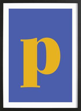 Blue Letter P affiche sous cadre en bois