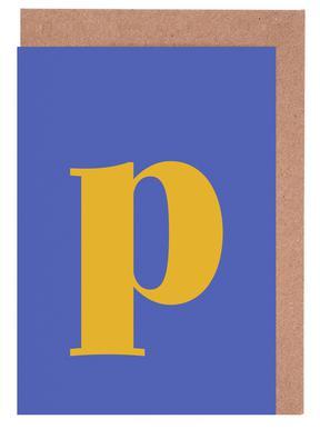 Blue Letter P cartes de vœux