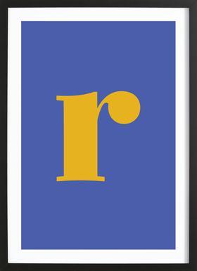 Blue Letter R affiche sous cadre en bois
