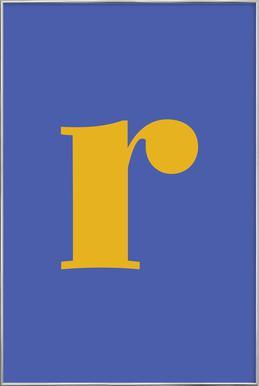 Blue Letter R affiche sous cadre en aluminium