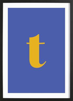 Blue Letter T affiche sous cadre en bois