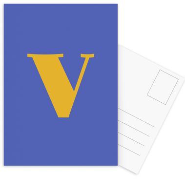 Blue Letter V cartes postales