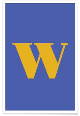 Blue Letter W affiche