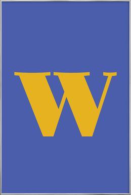 Blue Letter W affiche sous cadre en aluminium