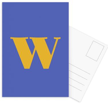 Blue Letter W cartes postales