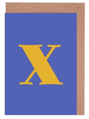 Blue Letter X cartes de vœux