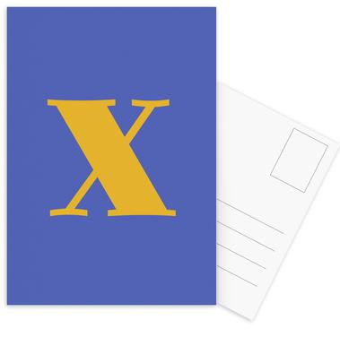 Blue Letter X cartes postales