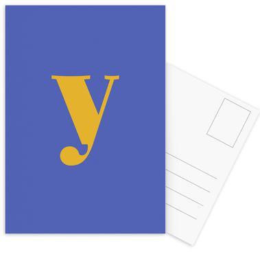 Blue Letter Y cartes postales