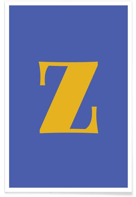 Blue Letter Z affiche