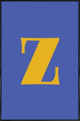 Blue Letter Z affiche encadrée