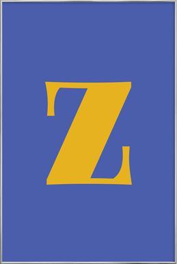 Blue Letter Z affiche sous cadre en aluminium