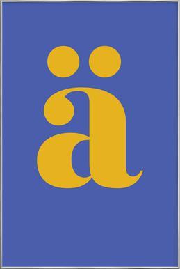 Blue Letter ä affiche sous cadre en aluminium
