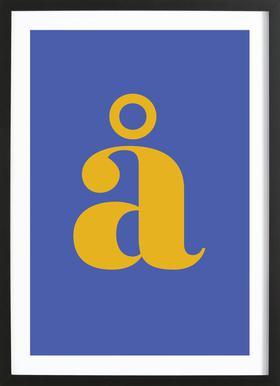 Blue Letter å affiche sous cadre en bois