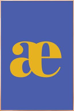 Blue Letter æ affiche sous cadre en aluminium