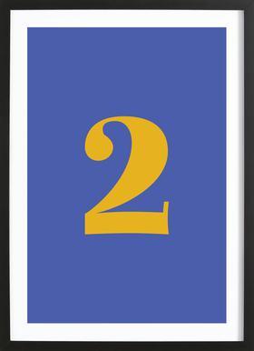 Blue Number 2 affiche sous cadre en bois
