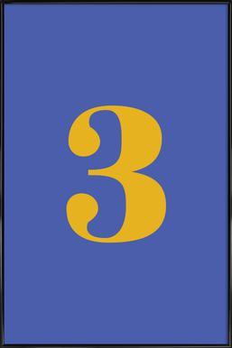 Blue Number 3 affiche encadrée
