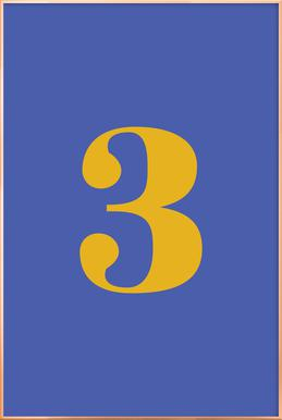 Blue Number 3 affiche sous cadre en aluminium