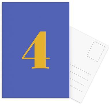 Blue Number 4 cartes postales