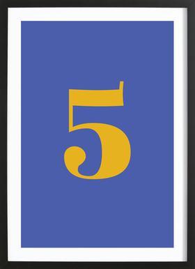 Blue Number 5 affiche sous cadre en bois
