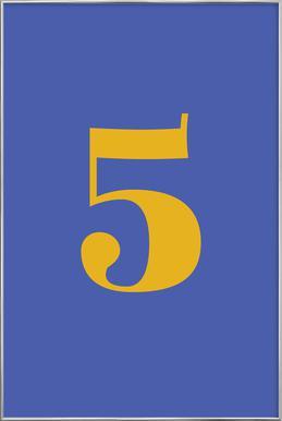Blue Number 5 affiche sous cadre en aluminium