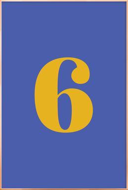 Blue Number 6 affiche sous cadre en aluminium