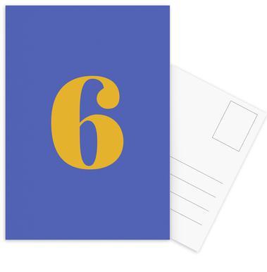 Blue Number 6 cartes postales
